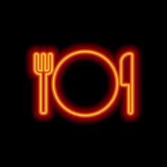 cutlery. plate fork and knife icon. Orange neon style on black b
