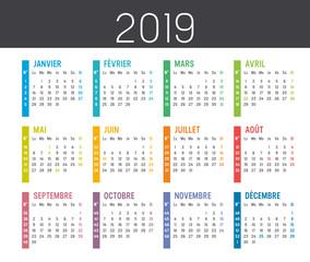 Calendrier Agenda 2019 - avec numéros de semaines