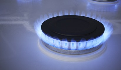 Blue flame from gas burner. 3D rendered illustration.