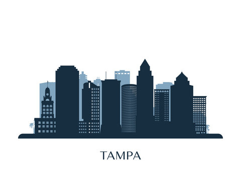 Tampa skyline, monochrome silhouette. Vector illustration.