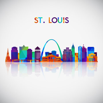 St.Louis skyline silhouette in colorful geometric style. Symbol for your design. Vector illustration.