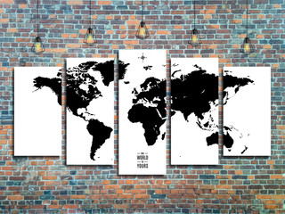world map with Edison lamps on a brick wall background in loft style design. stock vector illustration eps10