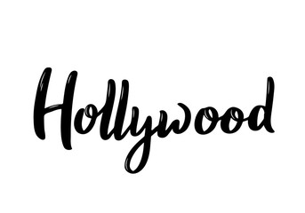 Hollywood Lettering.Black and white handwritten inscription. Vector design template.
