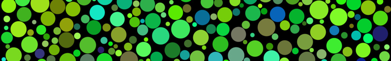 Abstract horizontal banner of circles of different sizes in shades of green colors on black background