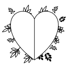heart love with leafs plant decorative