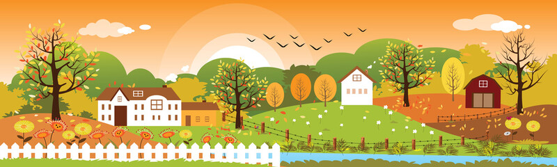 Panoramic of Countryside landscape in autumn, Vector illustration of horizontal banner of autumn landscape mountains and farmhouse with leaves falling from trees