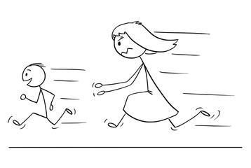 Cartoon stick drawing conceptual illustration of frustrated and angry mother chasing naughty and disobedient son.