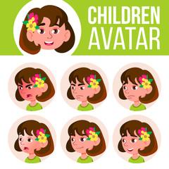 Girl Avatar Set Kid Vector. Kindergarten. Face Emotions. Cartoon, Comic, Flat. Little, Cute, Comic. Postcard, Announcement. Cartoon Head Illustration