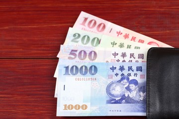 Money from Taiwan in the black wallet
