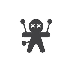 Voodoo doll vector icon. filled flat sign for mobile concept and web design. halloween doll simple solid icon. Black magic symbol, logo illustration. Pixel perfect vector graphics