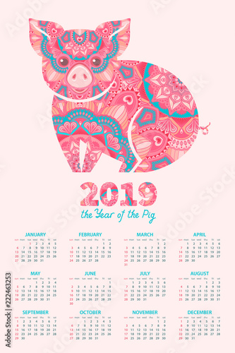 calendar 2019 pig is a symbol of the 2019 chinese new year decorative ornamented