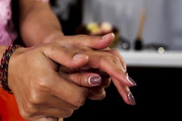 Hand massage according to Thai method. Hands close up