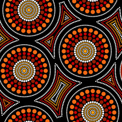 Fototapeta Australian aboriginal seamless vector pattern with dotted circles and crooked squares obraz
