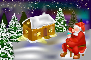 Detailed  Christmas banner template for your Photo zone. Christmas cartoon home and Santa Claus sits in a chair. Vector - winter snow house in the forest and Santa