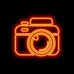 Photo camera, simple icon. Orange neon style on black background
