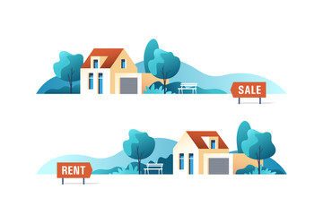 Real estate business concept with suburban houses. Vector illustration.