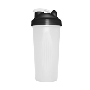 Shaker for protein shakes in vector on white background.