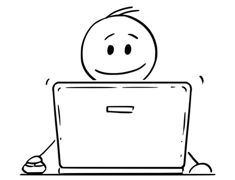 Cartoon stick drawing conceptual illustration of smiling man or businessman working on laptop or notebook portable computer.