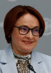 Russian central bank governor Elvira Nabiullina attends a news conference in Moscow