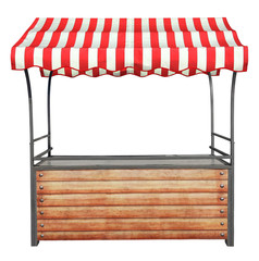 Wooden market stand stall with metal frame and red white striped awning