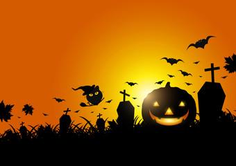 Halloween pumpkin on grass with moon light vector illustration
