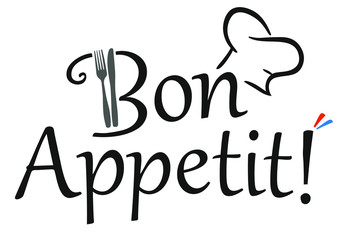 Bon Appetit! slogan with a chef hat, fork and knife and french colors