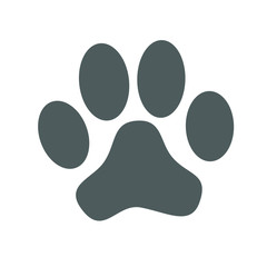 Grey paw print isolated on white background. Vector illustration.