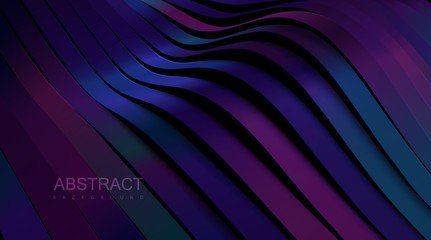 Abstract wavy ribbons background. Vector 3d illustration. Sliced glossy multicolored surface. Topography relief decoration. Vector architectural illustration. Cover layout, business brochure template.