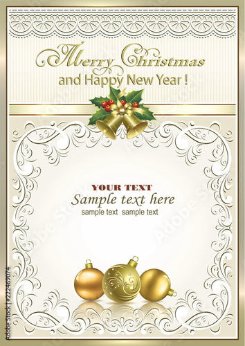 new year background with christmas decorations in frame with ornament