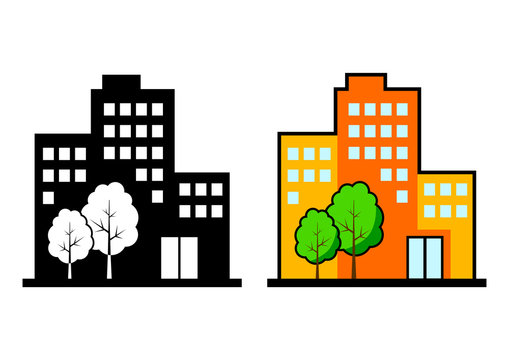 City vector icons on white background