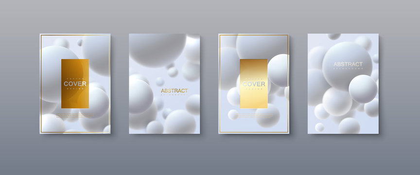 Abstract advertising posters design. Modern club party invitation. Vector illustration with 3d white spheres. Trendy minimalist cover templates