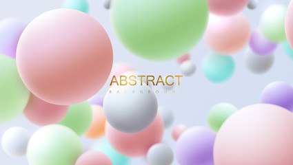 Flowing multicolored spheres. Vector realistic illustration. Abstract background with 3d geometric shapes. Modern cover design. Ads banner or brochure template. Trendy dynamic wallpaper