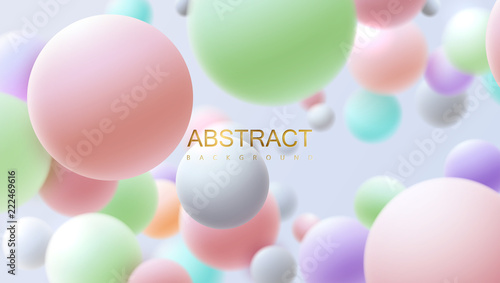 Flowing multicolored spheres  Vector realistic illustration