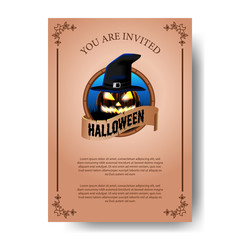 classic vintage Halloween party invitation paper. Trick or Treat invitation. poster banner template.