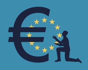 Silhouette of man in prayer pose. Man and symbol of euro currency. Flag of the European Union on backdrop