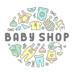 Baby clothing shop card. Linear style vector illustration. Suitable for advertising