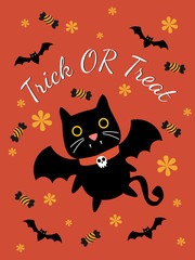 Cute vampire cat for Halloween greeting card. Cute decoration for Halloween.