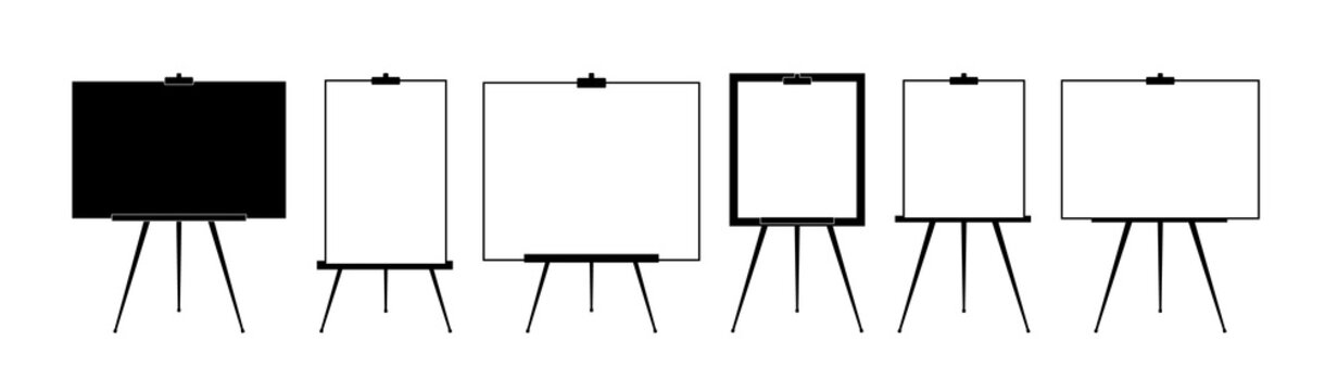 Set Advertising stand or flip chart or blank artist easel isolated on white background. Presentation blank white board for conference. Vector illustration.