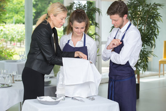 Waiter and waitress in training