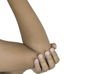 hand woman injured wrist,with clipping paths.