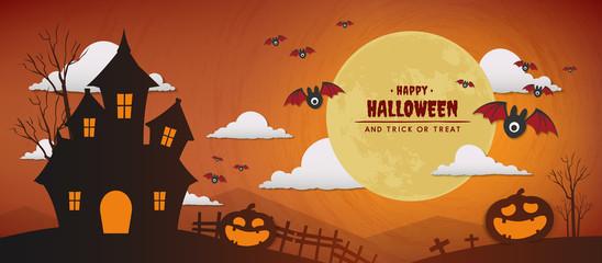 happy halloween day vector banner design