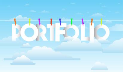 Portfolio creative word. Banner Vector Illustration