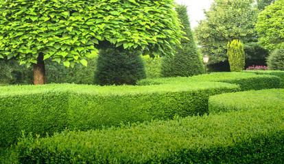 Schöner Ziergarten mit Buchsbaumhecken Bäumen Büschen und Außenbeleuchtung - Beautiful ornamental garden with box hedges trees bushes and outdoor lighting