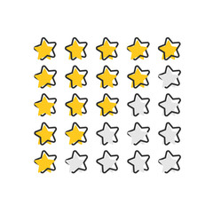 Vector cartoon customer review icon in comic style. Stars rank concept illustration pictogram. Rating feedback product splash effect concept.