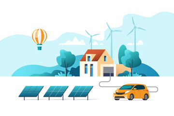 Wall Murals Light blue Concept of eco friendly alternative energy. House with solar panel and wind turbines. Vector illustration.