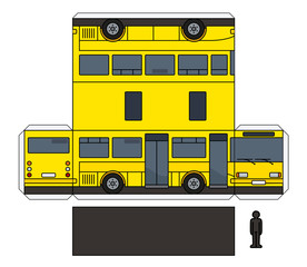 The simple paper model of a yellow small bus