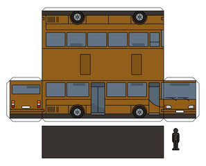 The simple paper model of a brown bus