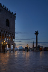 San Marco square with winged lion and Doge palace, nobody at the end of the night in Venice, Italy