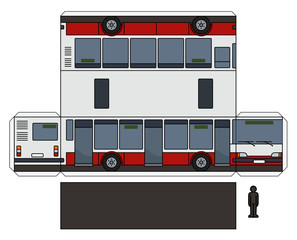 The simple paper model of a city bus