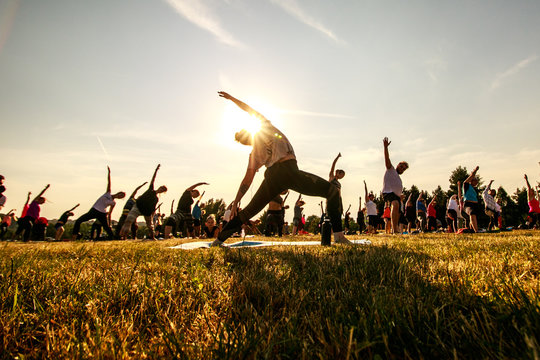 Massive yoga practice in nature